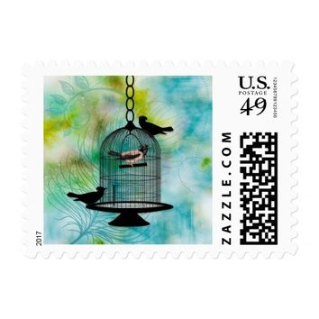 Birdcage with Feathery Blue and Green Bird Lover Postage