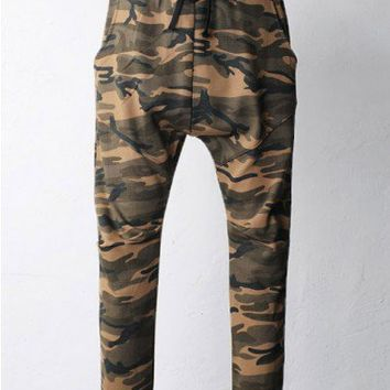 Elton Camouflage Drop Crotch Baggy Sweatpants