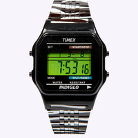 Timex 80 Digitale, metallene Armbanduhr mit Zebramuster - Urban Outfitters
