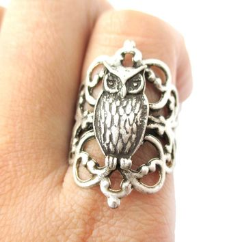 Pretty and Elegant Antique Silver Floral Filigree And Owl Charm Shaped Ring