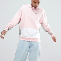 ASOS Oversized Sweatshirt With Colour Blocking at asos.com