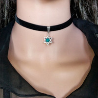 90's BLACK VELVET CHOKER Necklace Goth Gothic Handmade Star of David with Turquoise bead Retro Burlesque Jewelry