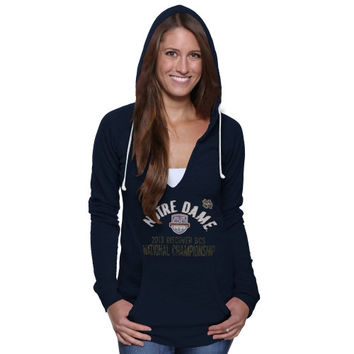 Notre Dame Fighting Irish Womens 2013 BCS National Championship Game Floored Burnout Sweatshirt - Navy Blue - http://www.shareasale.com/m-pr.cfm?merchantID=7124&userID=1042934&productID=540333690 / Notre Dame Fighting Irish