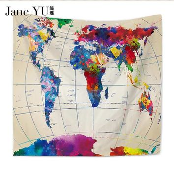 JaneYU 24 Colors New Arrived map Patten Tablecloth Home Decoration Thick Polyester Tapestry artistic tapestry
