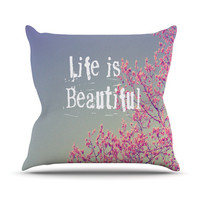 "Rachel Burbee ""Life is Beautiful"" Outdoor Throw Pillow, 16"" x 16"" - Outlet Item"