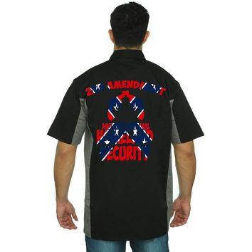 Men's Confederate Rebel Flag Mechanic Work Shirt Americas Original Homeland Security