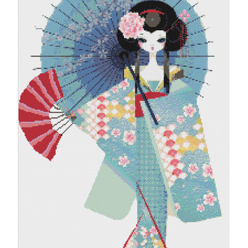 Minamalistic Geisha Girl - simple yet  modern needlecraft japan japanese tradition   pdf cross stitch pattern  INSTANT DOWNLOAD
