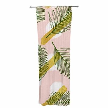 "mmartabc ""Tropical Pattern With Golden"" Pink Gold Nature Pattern Illustration Vector Decorative Sheer Curtain"