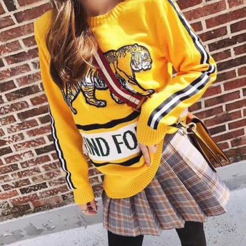 GUCCI Fashion Women Personality Embroidery Tiger Letter Print Long Sleeve Sweater Yellow I