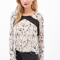 LOVE 21 Ink Print Blouse Beige/Black