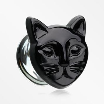 A Pair of Black Cat Head Double Flared Plug