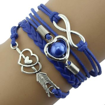 Infinity Love Heart Pearl Friendship Antique Leather Charm Bracelet BU