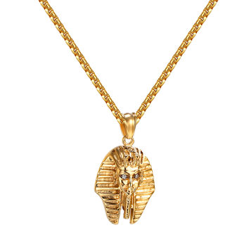 "Egyptian Pharaoh Pendant 14k Gold Tone Over Stainless Steel Free 24"" Necklace"