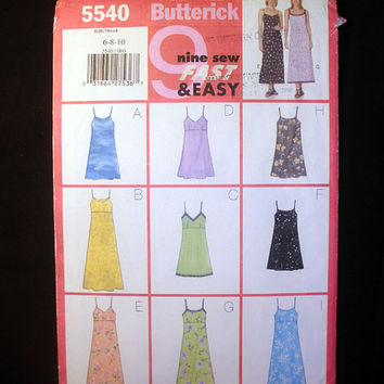 Women's Summer Sundress, Misses' Sizes 6, 8, 10 Butterick 5540 Sewing Pattern Uncut