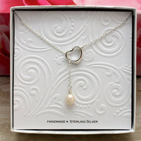 Christmas gift Open heart lariat necklace 925 Sterling silver oval freshwater pearl, bridesmaids gift for wife, maid of honor,