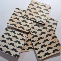 Mini Notecards - Mini Mustaches on Khaki Distressed Background - set of 6 - 2.75""