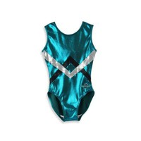 Obersee Kids Gymnastics Leotard in Green Chevron
