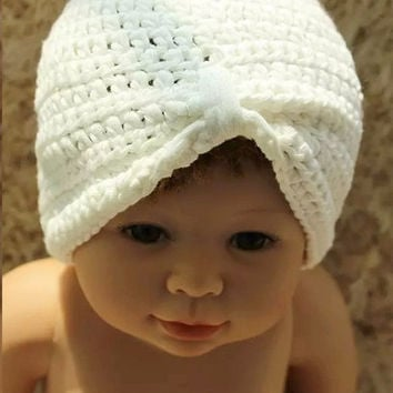 Baby Girls/Twins White Cotton Turban Hat Crochet Hat Baby Beanie Baby Shower Gift Baby Hats Toddler Hats - Newborn to 4T