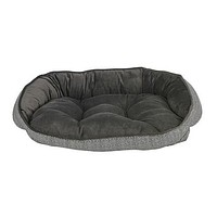 Crescent Bolstered Dog Bed — Herringbone MicroVelvet / Ash MicroVelvet
