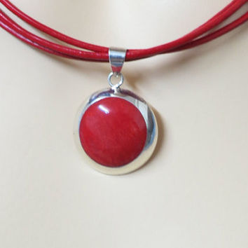 Red Leather Necklace Pendant, Red Coral Silver Pendant, Silver Choker Necklace, Bridesmaid Necklace, Stylishe Neacklace, Natural Stone,