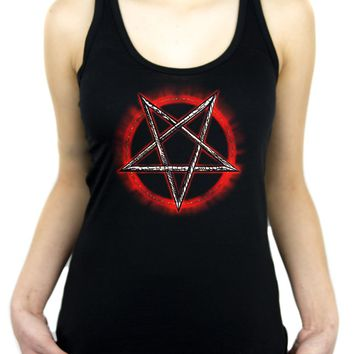 Inverted Pentagram w/ Fire Ring Women's Racer Back Tank Top Shirt