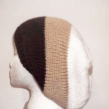 Knit slouch hat,brown,tan and white handmade - free shipping   4795
