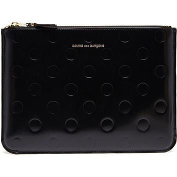 Comme Des Garçons Wallet Polka Dot Embossed Patent Leather Pouch