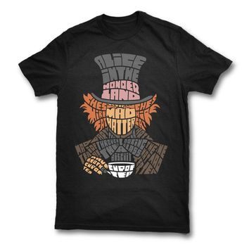 MAD HATTER T-SHIRT ALICE IN WONDERLAND Mans Unique Cotton Short Sleeves O-Neck T Shirt New 2017 Fashion T Shirt Men Top Tee