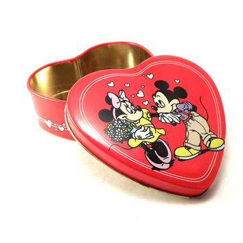Vintage Metal Mickey Mouse Minnie Mouse Tin, Small Valentines Day Candy Tin, Red Heart Gift Tin