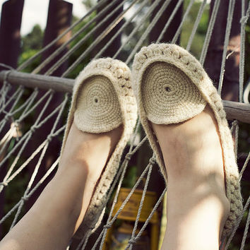 Crocheted home slippers moccasins from natural white organic wool Handmade to Order