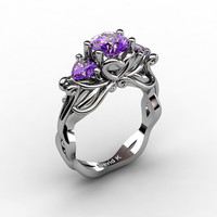 Nature Fairy 14K White Gold 1.0 Ct Round and Heart Amethyst Three Stone Engagement Ring R1082-14KWGAM