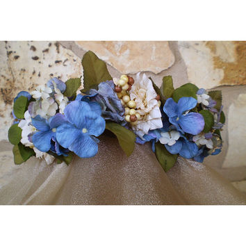 Blue floral head wreath wedding bridal flowers women's fashion accessory renaissance faerie costume