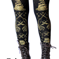 Pirate Tights Narwhal Print Large Gold on Black Womens Tattoo Sailor Octopus Squid