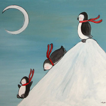 Large Whimsical Painting Penguin Childrens Art by andralynn