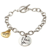 Womens Silver Plated Chain Mom I love you Charm Bracelet