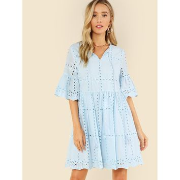 Tassel Tie Neck Eyelet Embroidered Smock Dress