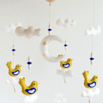 Cot BABY MOBILE, White Blue Olive Bird Baby Mobile, Hanging Nursery Mobile, Baby Mobile For Crib, Baby Shower, Newborn Gift, 100% WOOL Felt