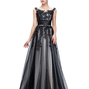 Robe de Soiree Longue Sexy Lace Applique Evening Dresses Long Ball Gown Luxury Black Evening Dress for Women 2017 Cap Sleeve 061