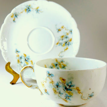 Tea Cup Limoges of France Haviland Vintage Tea cup with Delicate Blue Flowers ca 1903