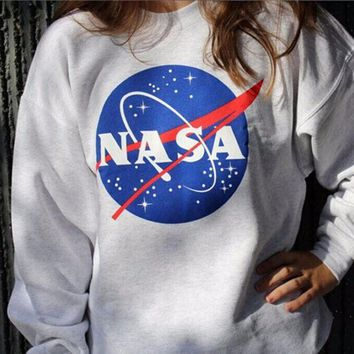 PEAPDQ7 NASA Printed Long Sleeve T Shirt Sweater