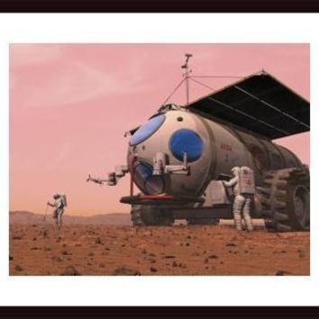 Artist's concept of how a martian motorhome might be realized., framed black wood, white matte