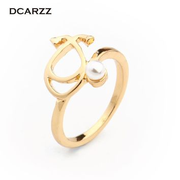 2 Colors Stethoscope Pearl Ring Medical Jewelry Biology Jewellery Gift for Doctor/Nurse/Graduation Student