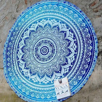 Indian Roundie Mandala Tapestry blue ombre round Beach Towel Throw Yoga Mat cover Large Round Tapestry yoga mat beach throw