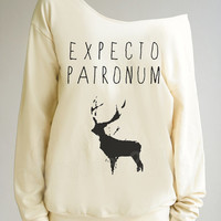 Deer Shirt Expecto Patronum Shirt Harry Potter Sweater Shirt Off Shoulder Shirt Women Sweater Women Sweatshirt Long Sleeve Shirt Women Shirt