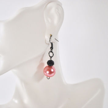 Pink Glass Pearls With Gunmetal French Hoops Women's Dangle Earrings