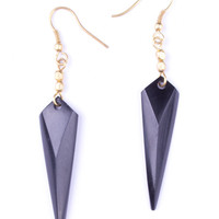 Pointed Arrow Black Earrings