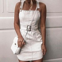 Jeans Dress Women Female Belt Tie Mini Denim Dresses Spaghetti Strap Overall Jeans Dress Vestidos