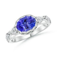 Bezel Tanzanite and Diamond Vintage Inspired Ring