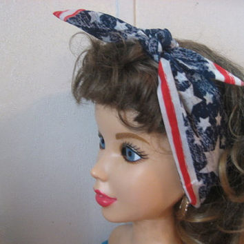 Hair Bandanas, 4th of July, STARS, Vote 2016, Ladies Head Band, Patriotic BANDANA, BigBow Hairband, Hair Scarf ,4th of July  #FJ2
