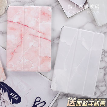"""Marble Grain Flip Cover For iPad Pro 9.7"""" Air Air2 Mini 1 2 3 4 Tablet Case Protective Shell for lovers + same case for iphone"""